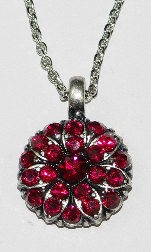 "MARIANA ANGEL PENDANT RUBY JULY BIRTHDAY: ruby red stones in silver rhodium setting, 18"" adjustable chain"