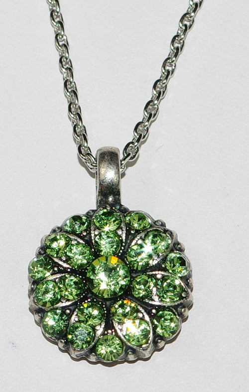 "MARIANA ANGEL PENDANT PERIDOT AUGUST BIRTHDAY:  light green stones in silver setting, 18"" adjustable chain"
