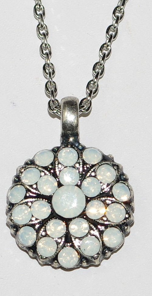 "MARIANA ANGEL PENDANT OPAL OCTOBER BIRTHDAY:  white stones in silver rhodium setting, 18"" adjustable chain"