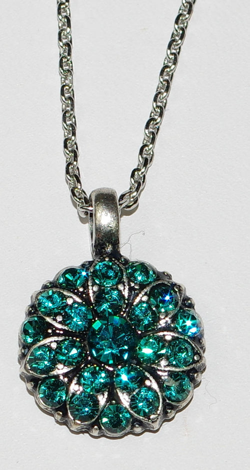 "MARIANA ANGEL PENDANT BLUE ZIRCON DECEMBER BIRTHDAY: teal blue stones in silver setting, 18"" adjustable chain"