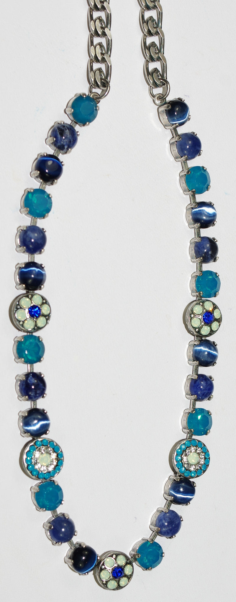 "MARIANA NECKLACE ZHANG: pacific opal, blue, navy, clear stones in silver setting, 17"" adjustable chain"