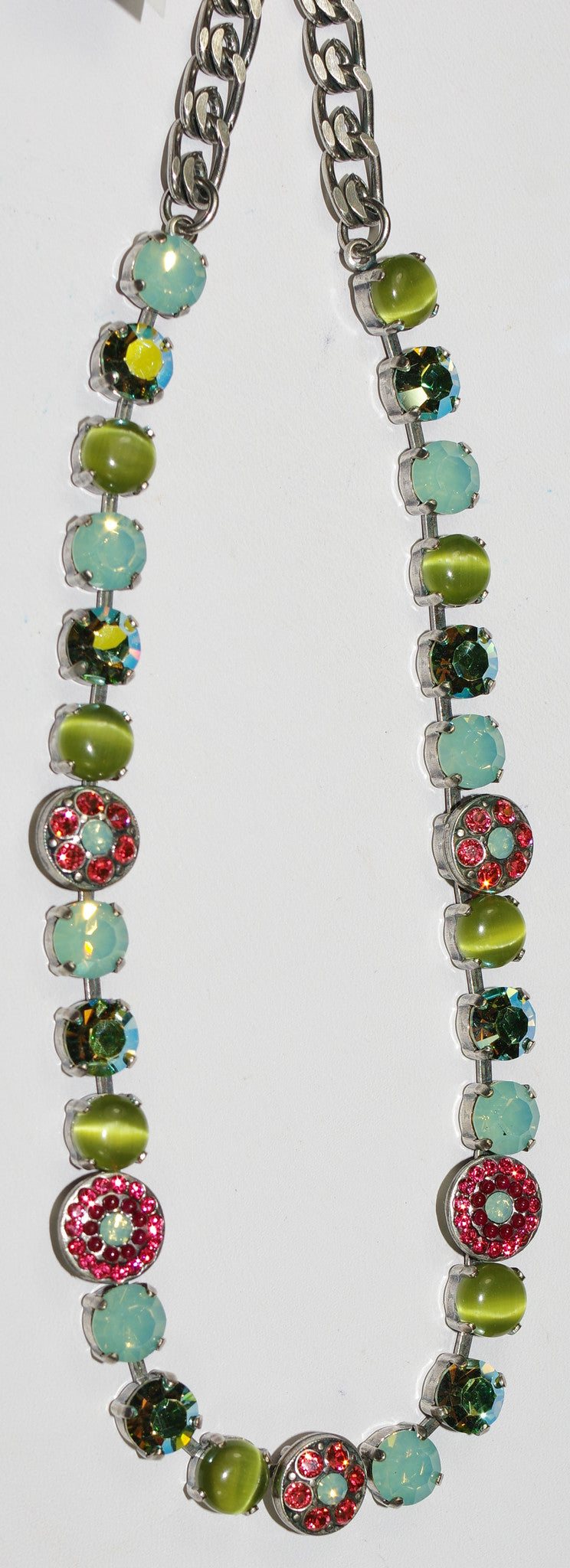 "MARIANA NECKLACE MYRRH: pacific opal, orange, green stones in silver setting, 17"" adjustable chain"