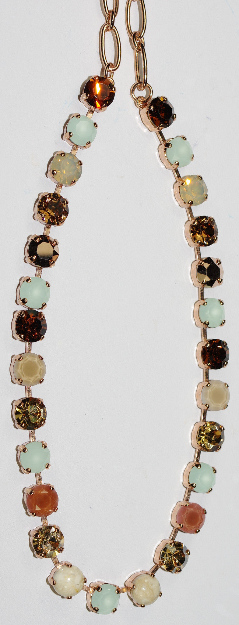 "MARIANA NECKLACE BETTE SERAI: beige, pacific opal, brown, amber 1/4"" stones in rose gold setting, 17"" adjustable chain"