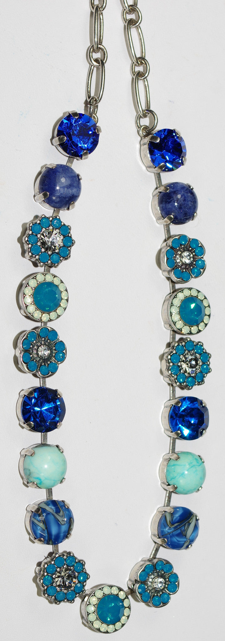 "MARIANA NECKLACE ZHANG SOPHIA: pacific opal, blue, clear stones in silver rhodium setting, 18"" adjustable chain"