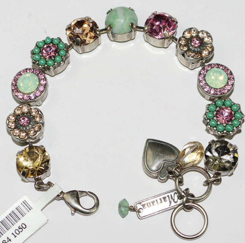 MARIANA BRACELET PERSIAN ROSE SOPHIA: pacific opal, amber, peach, pink stones in silver setting