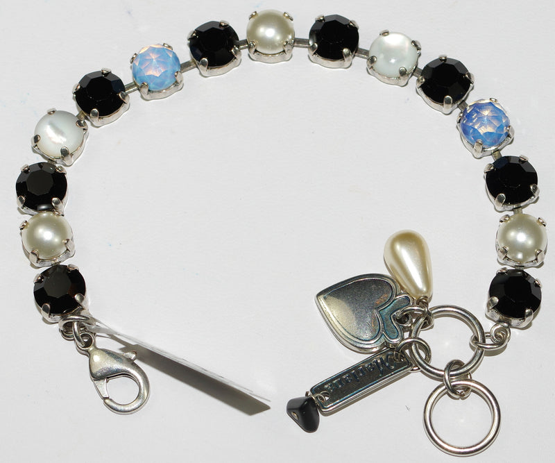MARIANA BRACELET BLACK/WHITE BETTE: black, white, pearl, blue stones in silver setting