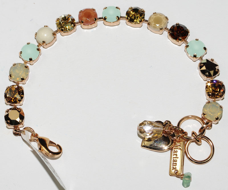 MARIANA BRACELET SERAI BETTE: pacific opal, amber, gold, brown stones in rose gold setting