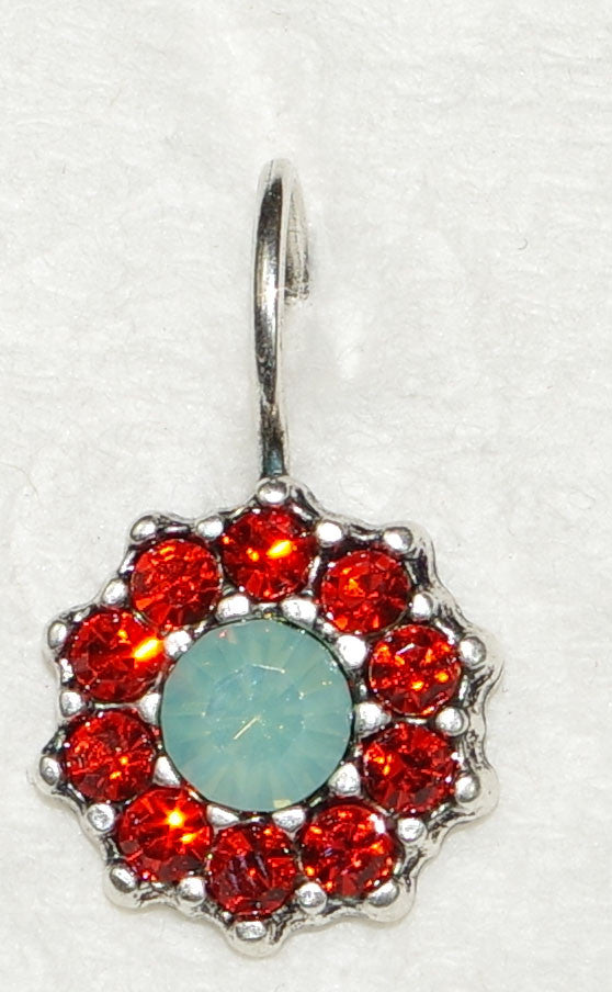 "MARIANA EARRINGS MYRRH: pacific opal, orange stones in 1/2"" silver setting, lever back"