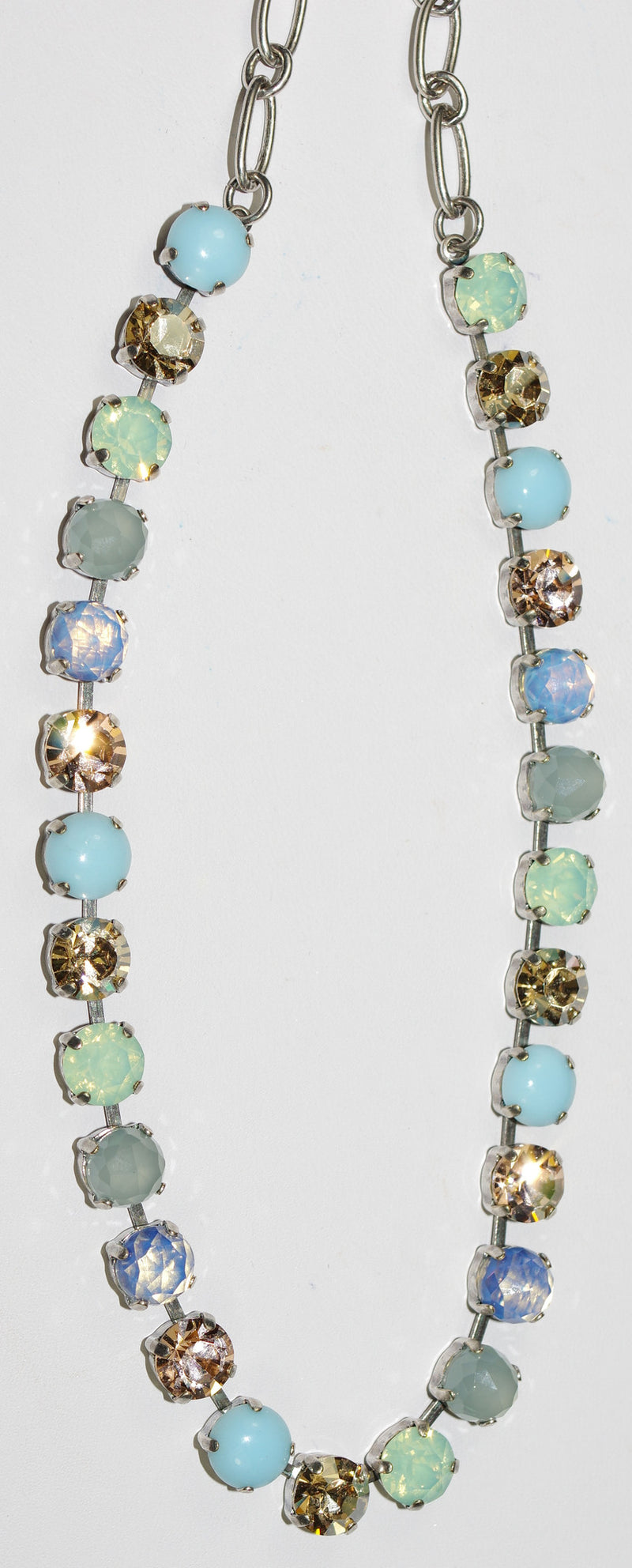 "MARIANA NECKLACE BOSPHEROUS BETTE: amber, pacific opal, clear, turq stones in silver setting, 18"" adjustable chain"