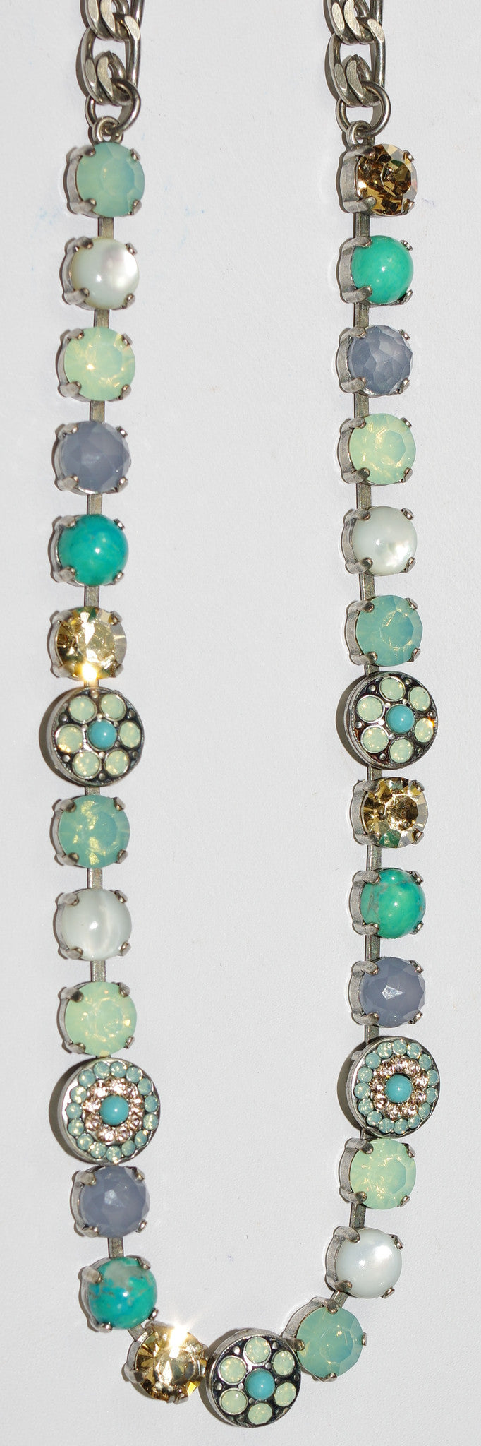 "MARIANA NECKLACE BOSPHEROUS: pacific opal, amber, white, turq stones in silver setting, 17"" adjustable chain"