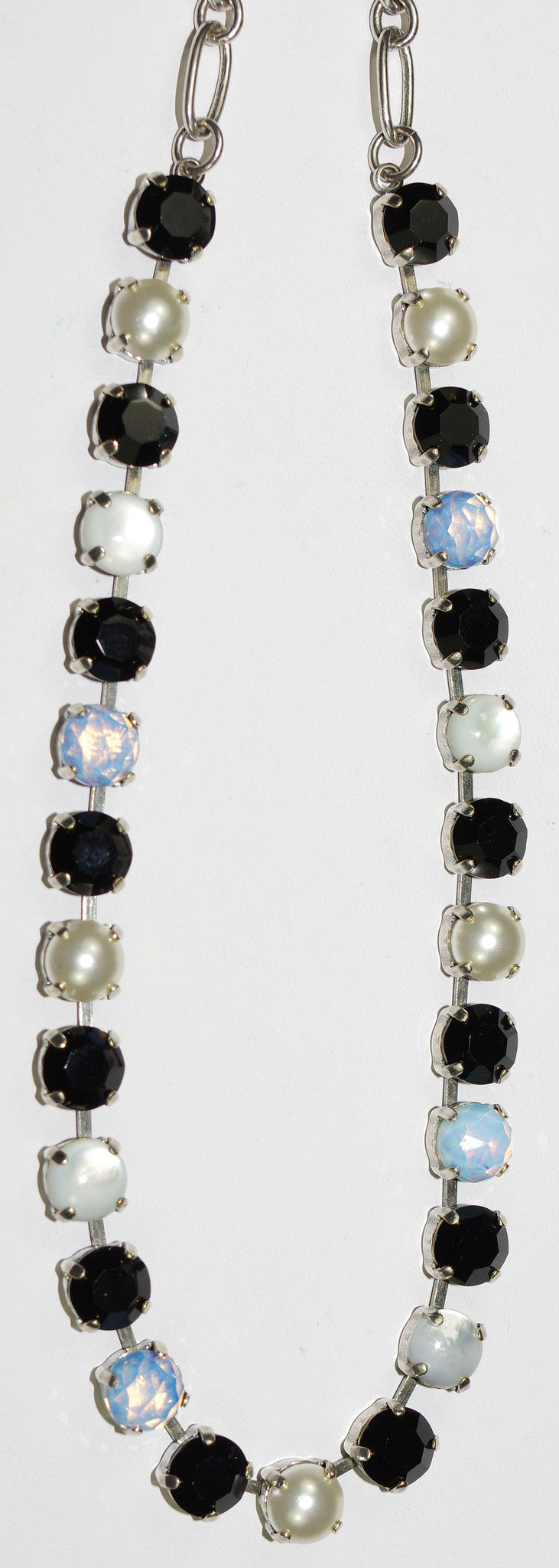 "MARIANA NECKLACE BLACK/WHITE BETTE: black, white, pearl, blue stones in silver setting, 18"" adjustable chain"