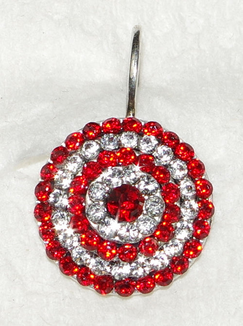 "MARIANA EARRINGS RED STARBURST: red, clear stones in 5/8"" silver setting, lever backs"