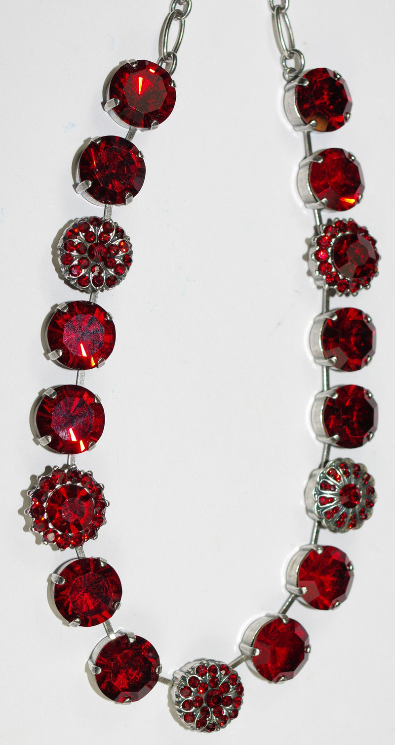 "MARIANA NECKLACE SIAM  red 5/8"" stones in 18"" silver adjustable chain"