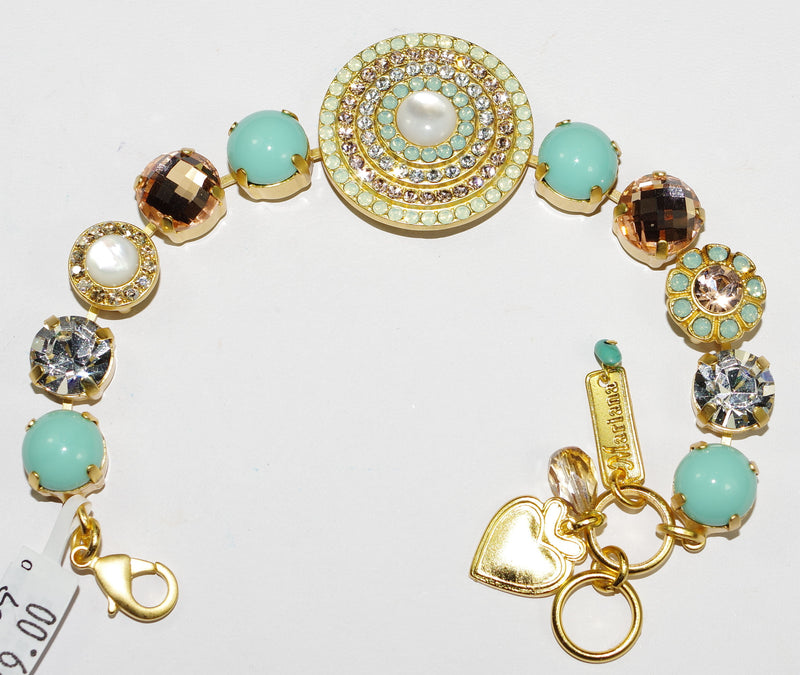 MARIANA BRACELET BOSPHOROUS: blue, clear, white cat's eye, pacific opal stones in yellow gold setting