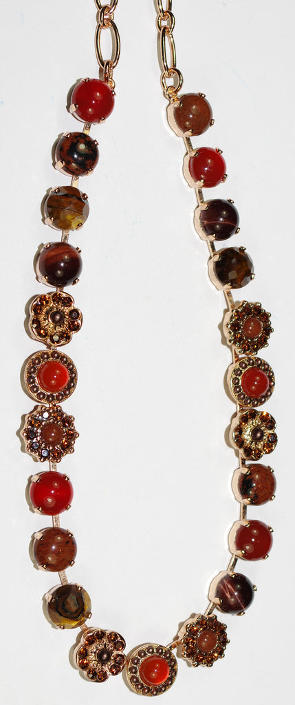 "MARIANA NECKLACE CINNAMON  rust, brown, amber stones in rose gold setting, 18"" adjustable chain"