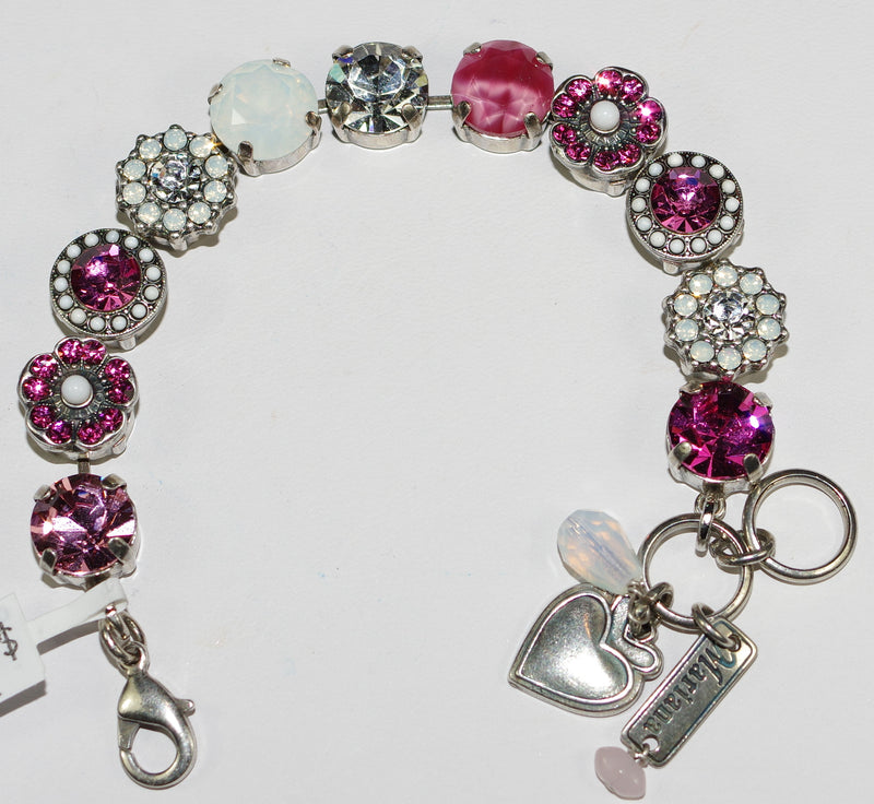MARIANA BRACELET PINK MUSK SOPHIA: clear, pink, white stones in silver setting