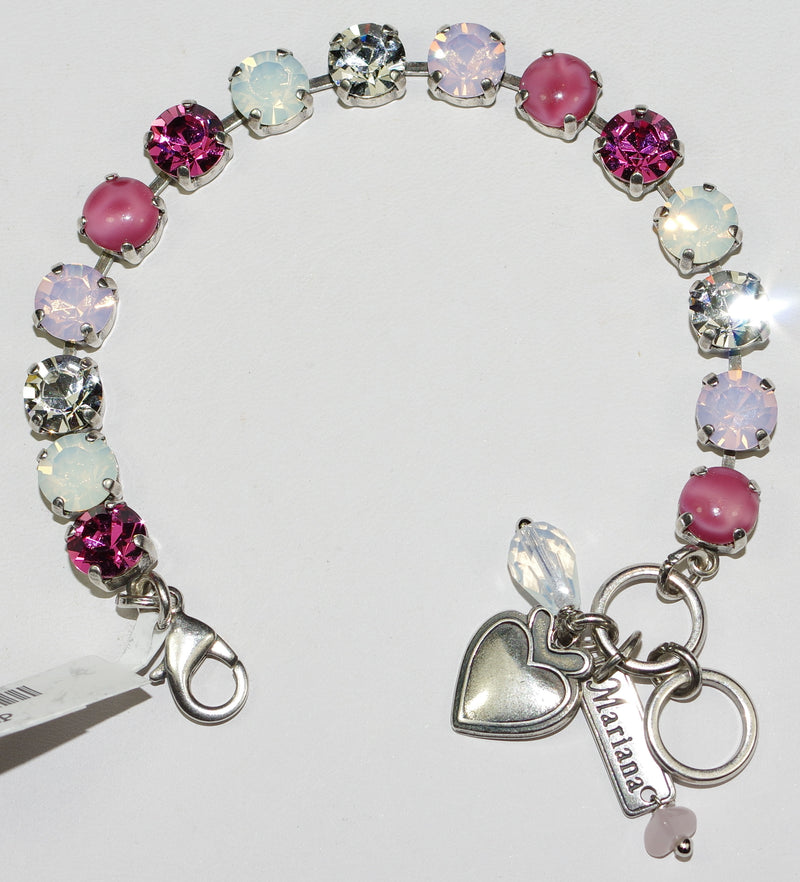 "MARIANA BRACELET PINK MUSK BETTE: clear, white, pink 3/8"" stones in silver rhodium  setting"