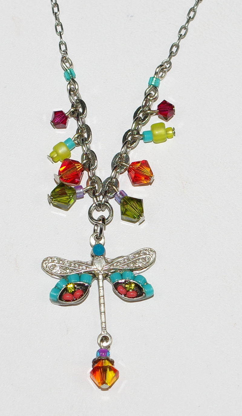 "FIREFLY NECKLACE SMALL DRAGONFLY MC: blue, orange, green stones in 1"" pendant, silver 18"" adjustable chain"
