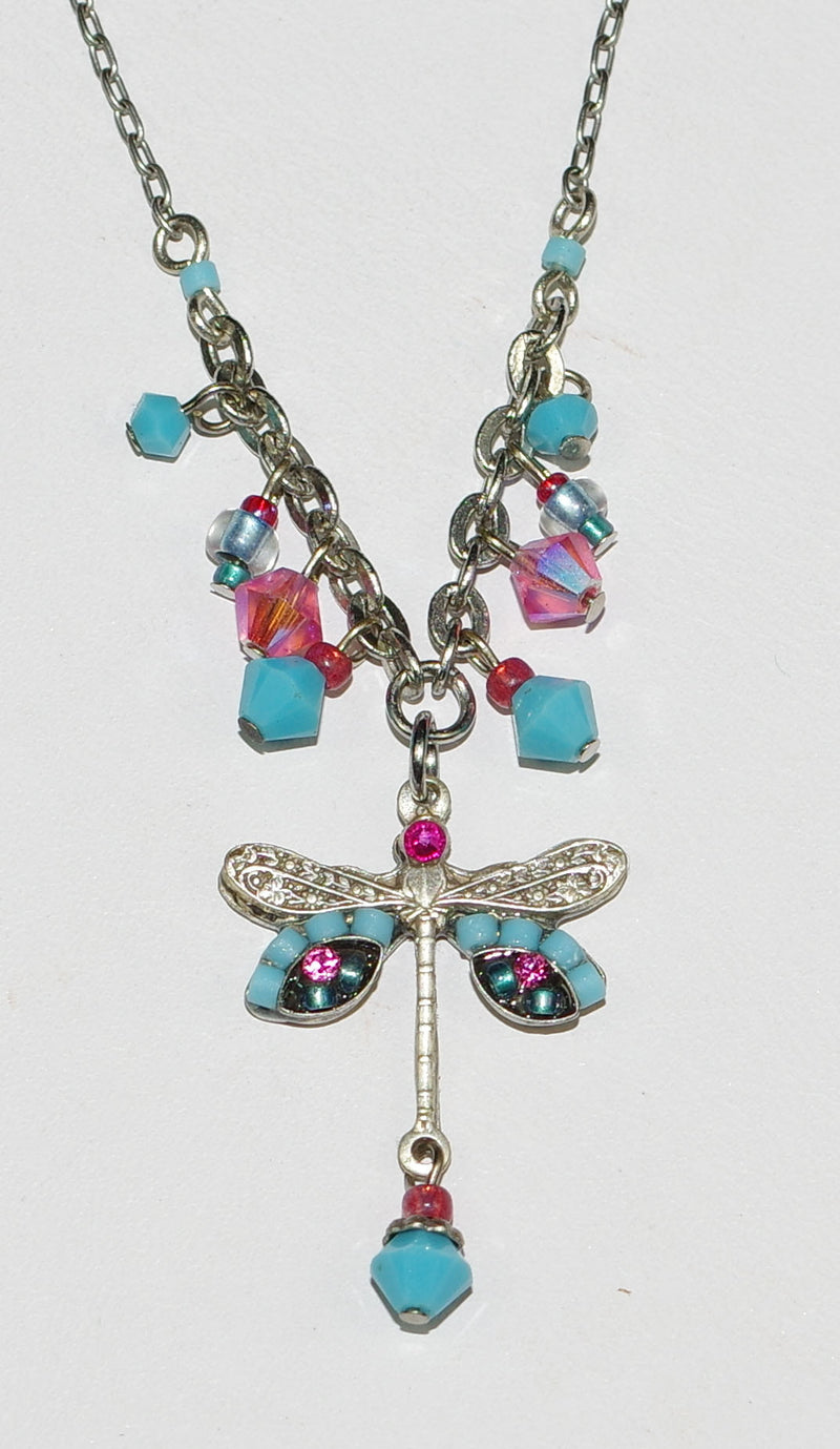 "FIREFLY NECKLACE SMALL DRAGONFLY TURQ: blue, pink stones in 1"" pendant, silver 18"" adjustable chain"