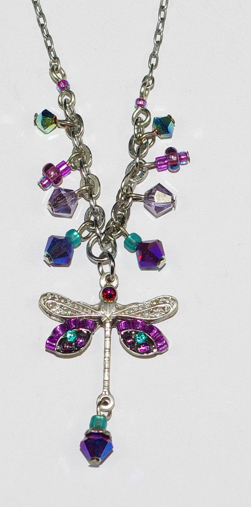 "FIREFLY NECKLACE SMALL DRAGONFLY PUR: blue, purple stones in 1"" pendant, silver 18"" adjustable chain"