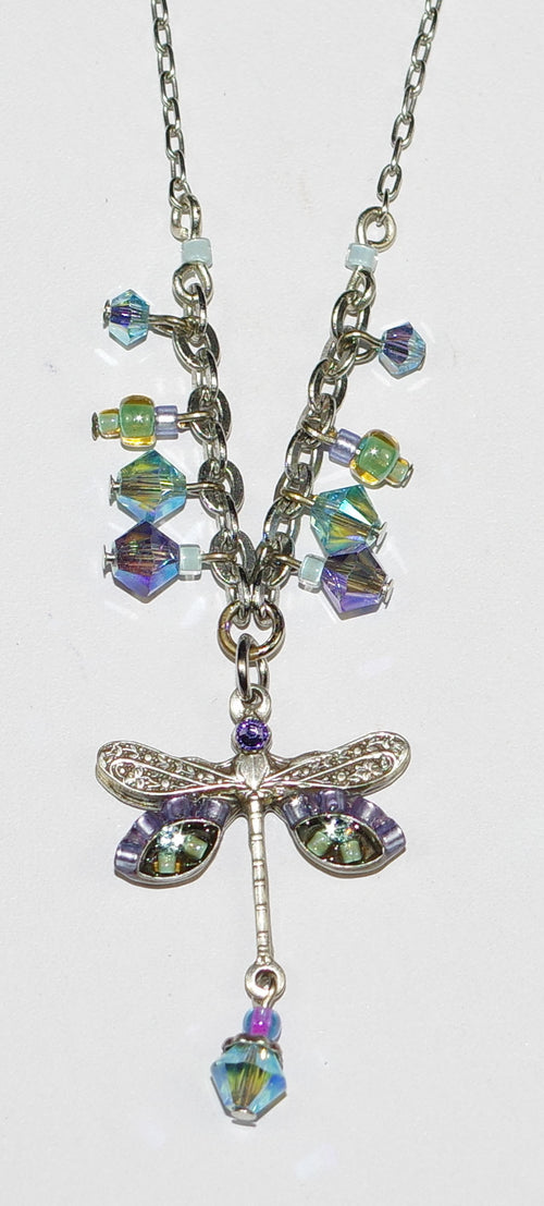 "FIREFLY NECKLACE SMALL DRAGONFLY AQ: blue, green stones in 1"" pendant, silver 18"" adjustable chain"
