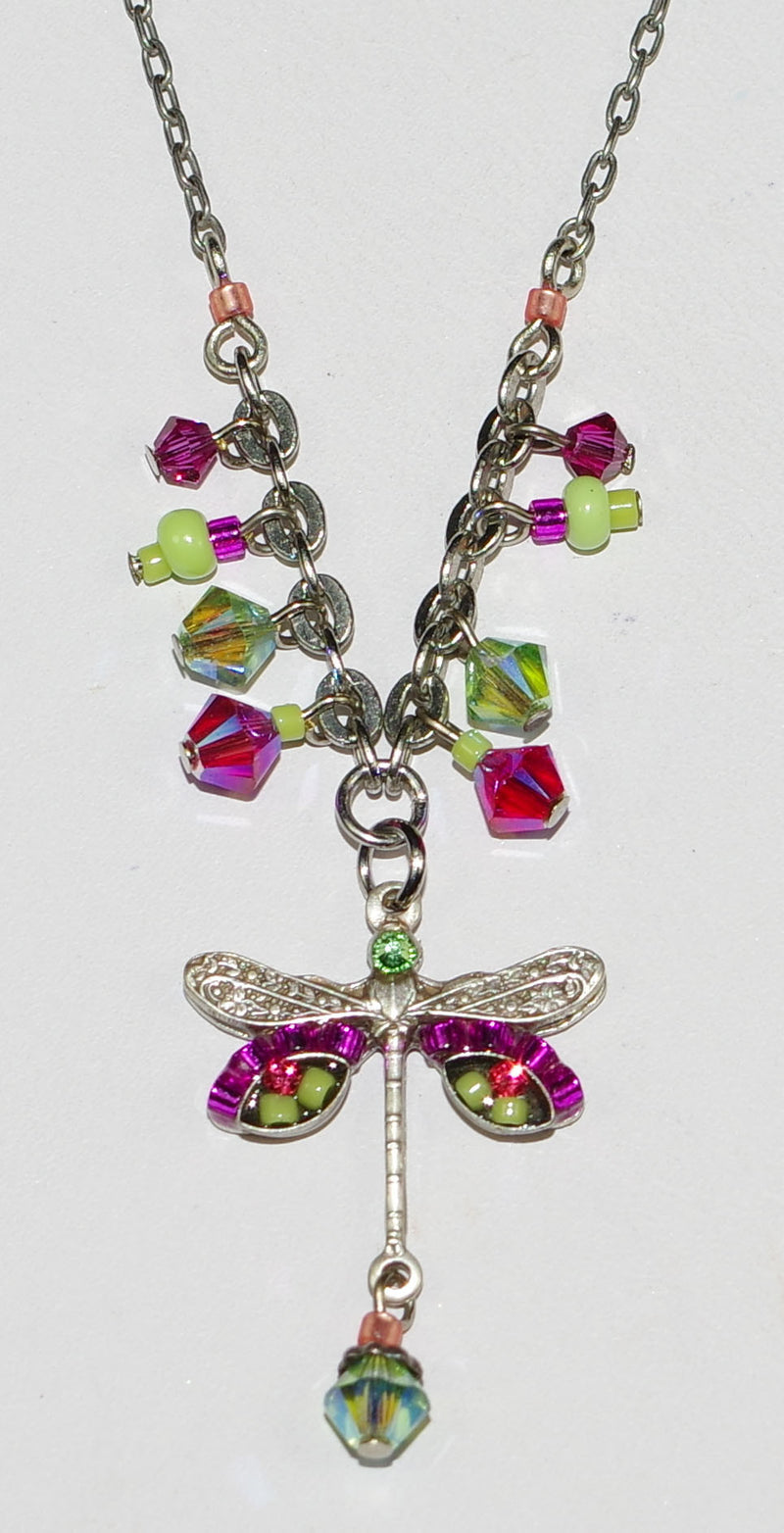 "FIREFLY NECKLACE SMALL DRAGONFLY HP:  pink, green stones in 1"" pendant,  silver 18"" adjustable chain"