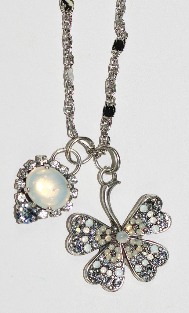 "MARIANA PENDANT SILK: white, clear stones in silver setting, main charm = 1"", 28"" adjustable chain"