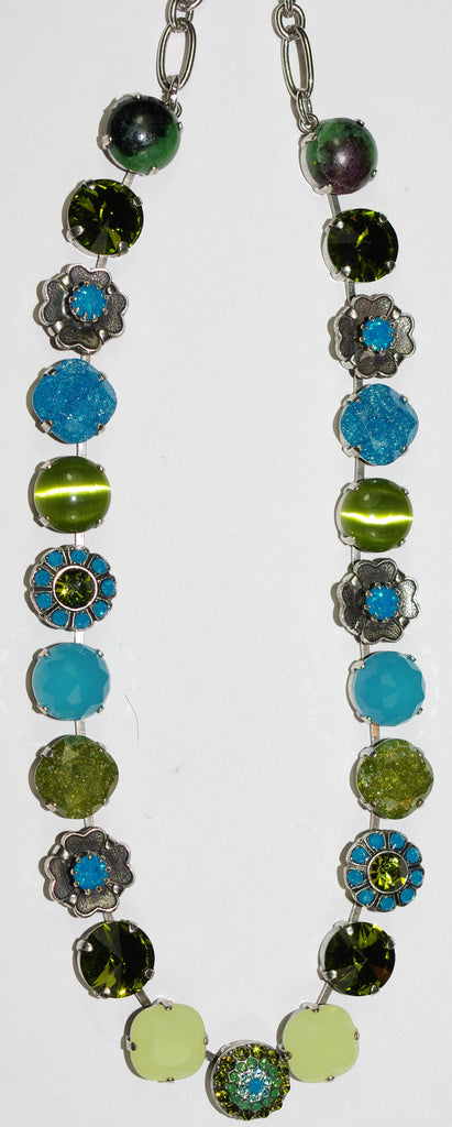 "MARIANA NECKLACE NEPHRITE: green, blue stones in silver setting, 18"" adjustable chain"
