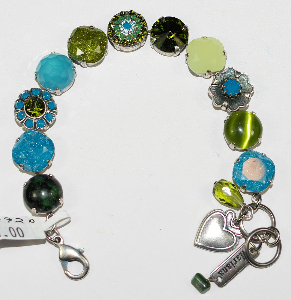 MARIANA BRACELET NEPHRITE: green, blue, stones in silver setting