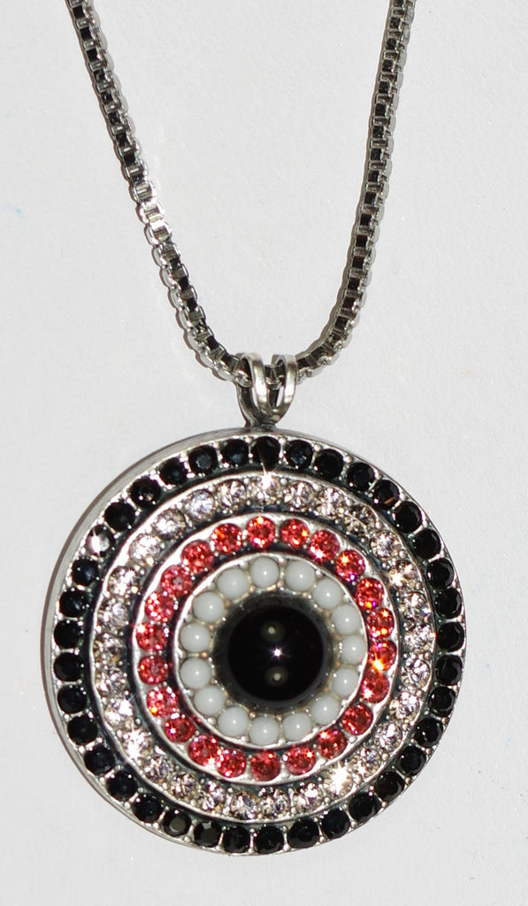 "MARIANA PENDANT POMEGRANATE: melon, white, clear, black stones in silver setting, charm = 1.25"", 28"" adjustable chain"