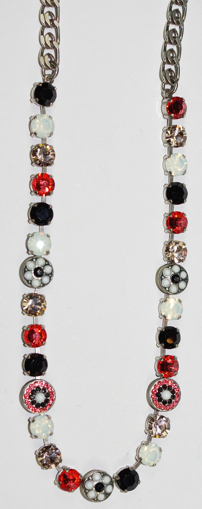 "MARIANA NECKLACE POMEGRANATE: melon, black, white, pink stones in silver setting, 17"" adjustable chain"