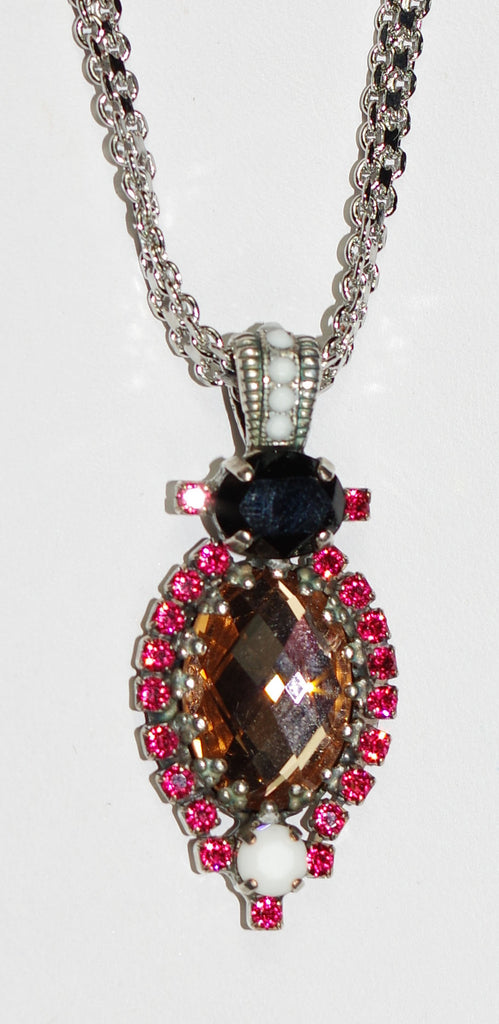 "MARIANA PENDANT POMEGRANATE: melon, black, white, amber, stones in silver setting, 20"" adjustable chain"