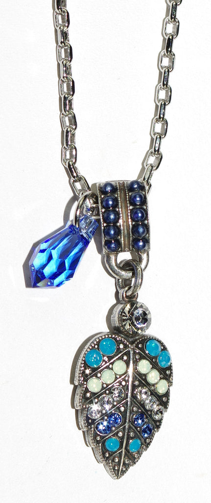"MARIANA PENDANT ZHANG: blue, clear, white stones in silver setting, 1.5"" charm, 20"" adjustable chain"