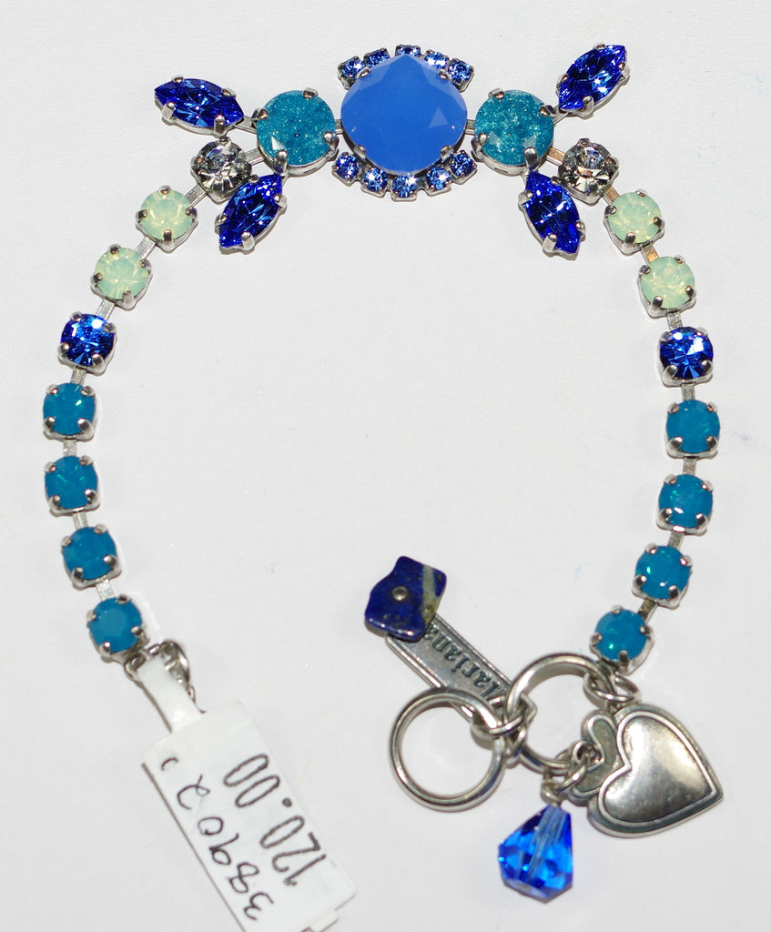 MARIANA BRACELET ZHANG: blue, pacific opal, clear teal stones in silver setting