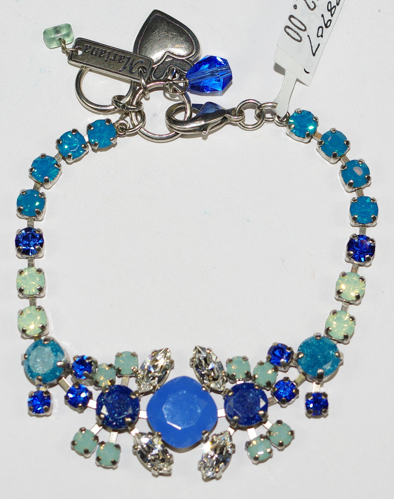 MARIANA BRACELET ZHANG:blue, pacific opal, clear teal stones in silver setting