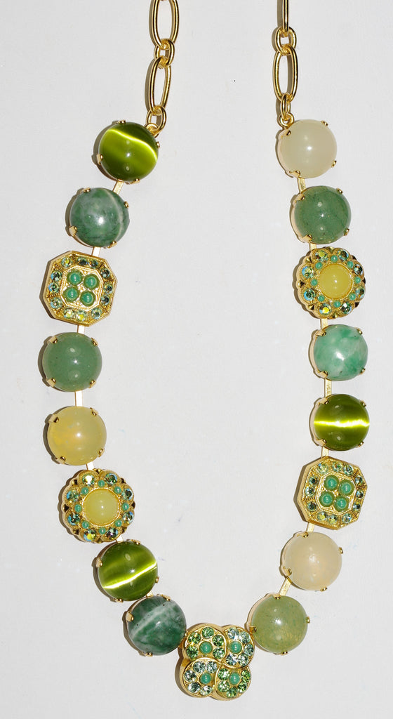 "MARIANA NECKLACE OASIS: green, pacific opal, white stones in yellow gold setting, 18"" adjustable chain"