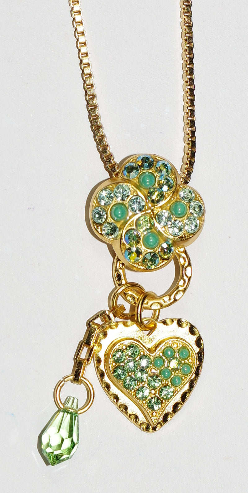 "MARIANA PENDANT OASIS: green, a/b stones in yellow gold setting, 2"" charm, 14"" adjustable chain"
