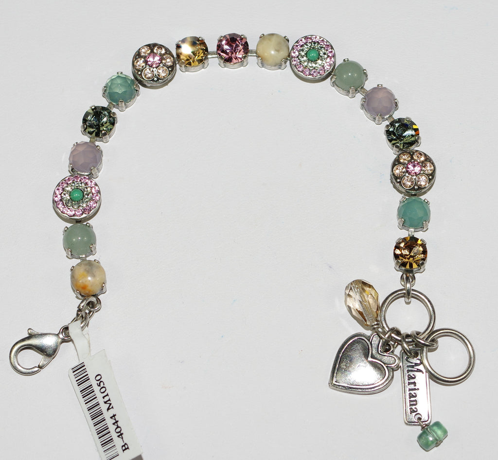 MARIANA BRACELET PERSIAN PINK: pacific opal, pink, amber stones in silver setting
