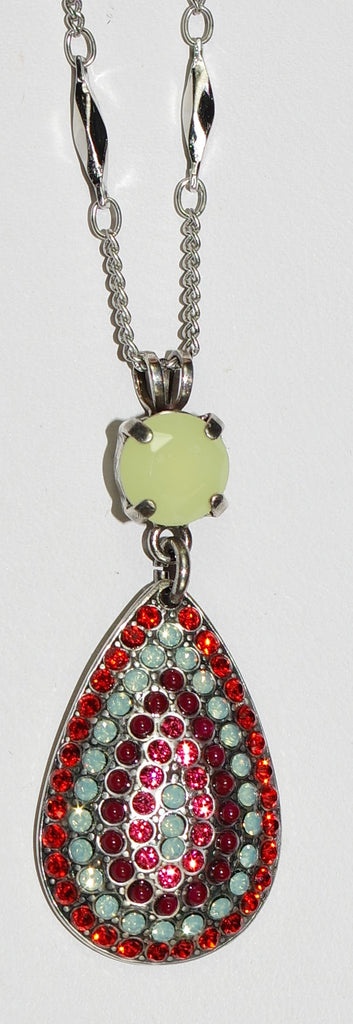 "MARIANA PENDANT MYRRH: red, green, orange stones in 1"" silver setting, 16"" adjustable chain"