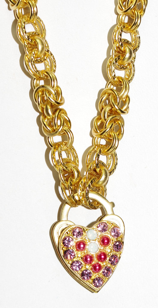 "MARIANA NECKLACE PINK MUSK: pink, white stones in yellow gold setting, 1"" charm, 20"" adjustable chain"
