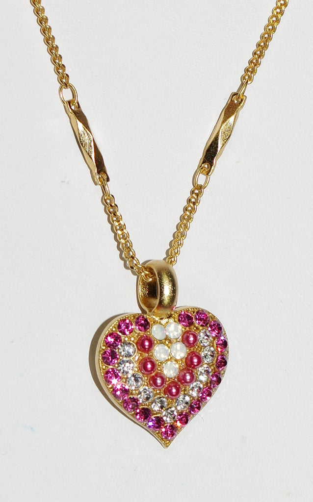 "MARIANA PENDANT PINK MUSK: pink, white stones in yellow gold setting, 5/8"" charm, 19"" adjustable chain"