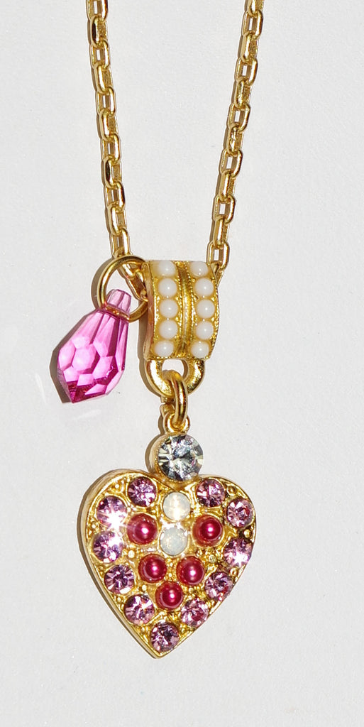 "MARIANA PENDANT PINK MUSK: pink, white stones in yellow gold setting, 1.5"" charm, 20"" adjustable chain"