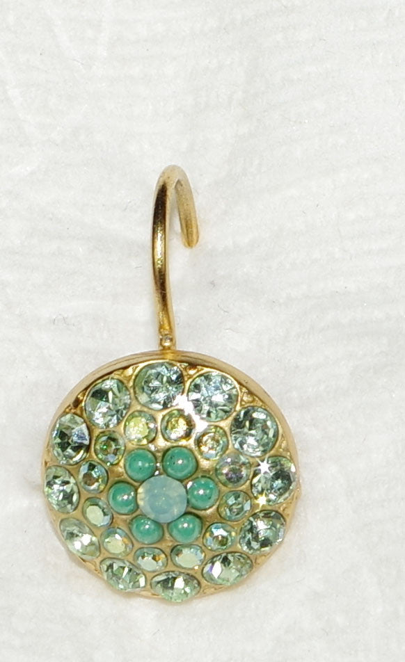 "MARIANA EARRINGS OASIS: green, blue stones in 1/2"" yellow gold setting, lever back"