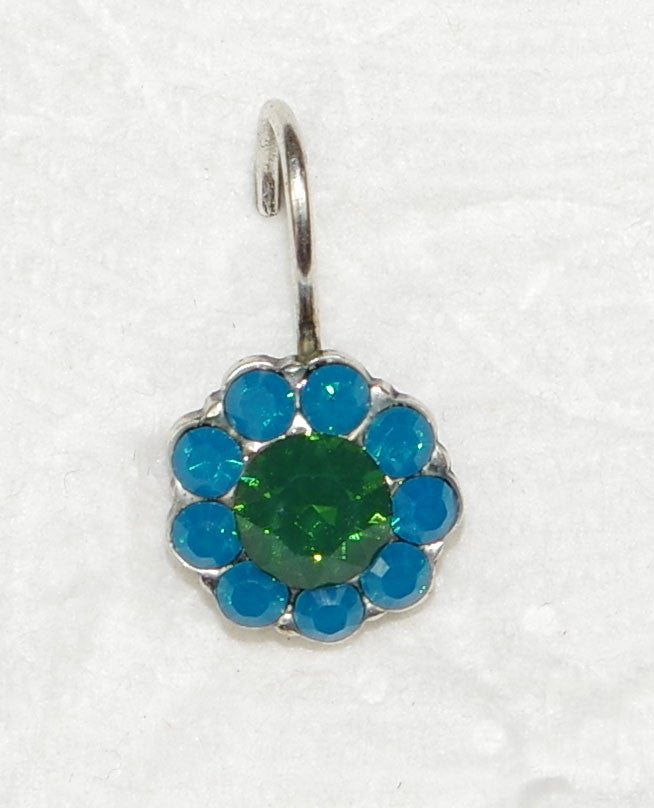 "MARIANA EARRINGS NEPHRITE: blue, green stones in 3/8"" silver setting, lever back"