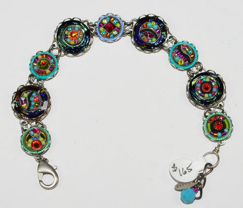 FIREFLY BRACELET BUTTON MC: multi color stones in silver setting