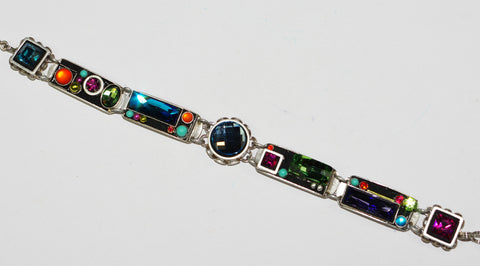 FIREFLY BRACELET ARCH MC: multi color color stones in silver setting