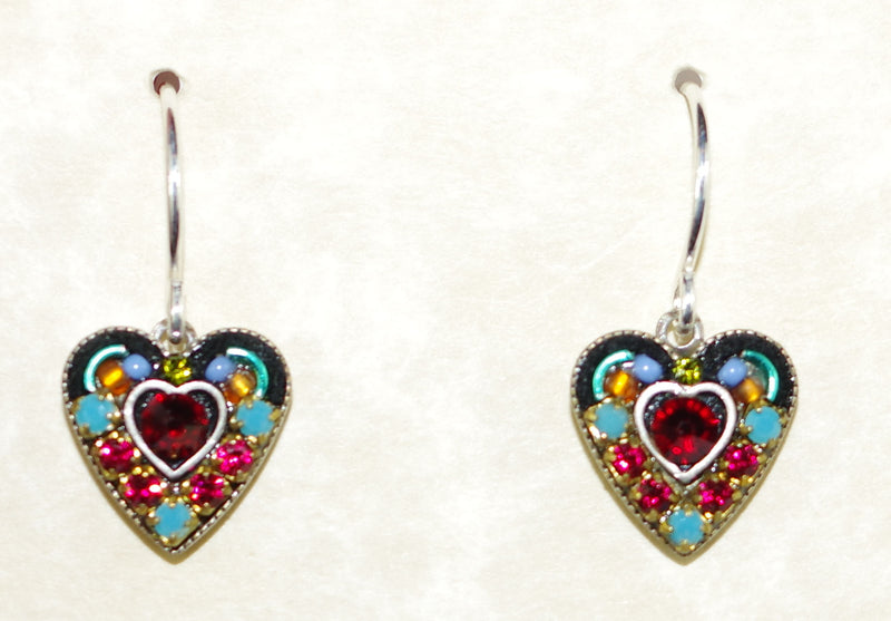 "FIREFLY EARRINGS SM RED CRYSTAL HEART MC: multi color stones in 3/8"" setting, french wire backs"