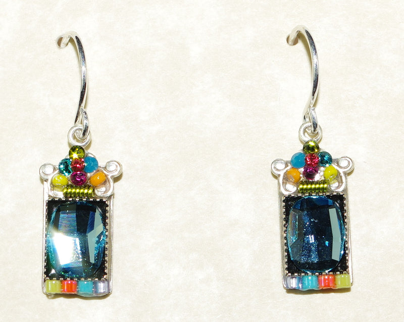 "FIREFLY EARRINGS MOSAIC MIRROR MC: multi color stones in 1/2"" setting, french wire backs"