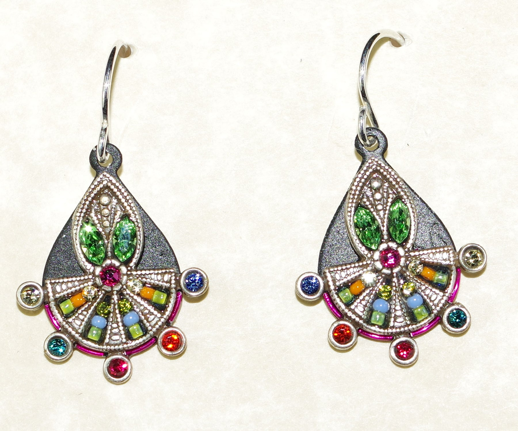 silver color multicolor front multi german earrings