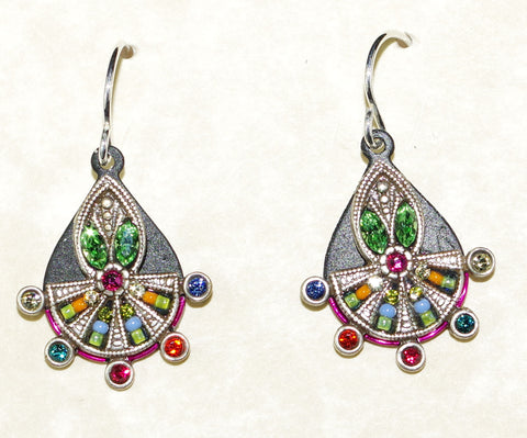 "FIREFLY EARRINGS ART DECO DROP MC: multi color stones in 3/4"" silver setting, wire backs"